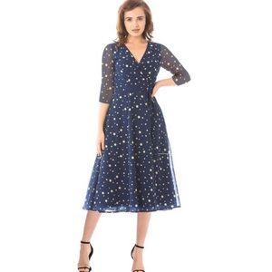 Eshakti Star Print Georgette Midi Wrap Dress Navy